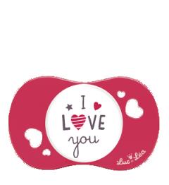 Luc et Léa Sucette plus de 6 Mois Symétrique I Love You