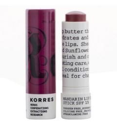 Korres Stick à Lèvres Mandarine Nourrissant SPF15 Purple