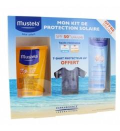 Mustela Solaire Lait SPF50 200Ml, Spray Après Solaire 125Ml et T-Shirt Anti UV Offert