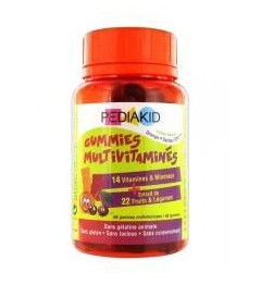 Pediakid Gommes Multivitaminées 60 Oursons Orange et Cerise