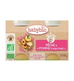 Babybio Petits Pots dès 4 mois Pêche Pomme 2x130 Grammes