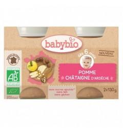Babybio Petits Pots dès 6 mois Pots Pomme Chataigne 2x130 Grammes
