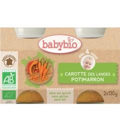 Babybio Mes Légumes dès 4 Mois Pot Carotte Potimarron 2x130 Grammes