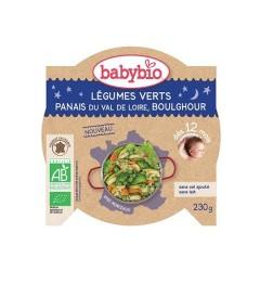 Babybio Bonne Nuit dès 12 Mois Assiette Légumes Verts Panais Boulghour 230 Grammes