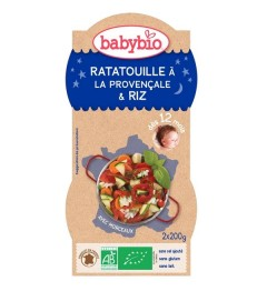 Babybio Bonne Nuit dès 12 Mois Bols Ratatouille Riz 2x200 Grammes
