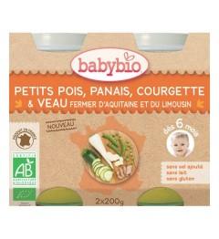 Babybio Menu du Jours dès 6 Mois Pot Petits Pois Panais Courgette Veau 2x200 Grammes