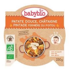 Babybio Menu du Jour dès 12 Mois Assiette Patate Douce Chataigne Pintade 230 Grammes