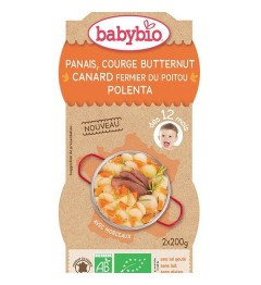 Babybio Menu du Jours dès 12 Mois Bols Panais Courge Butternut Canard Polenta 2x200 Grammes