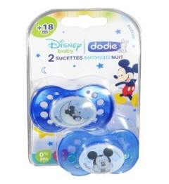 Dodie Sucette Silicone Duo Nuit Mickey Plus de 18 Mois