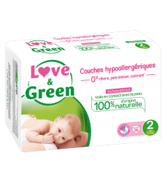 Love And Green Couches Hypoallergéniques Taille 2 3 à 6Kg Paquet de 36