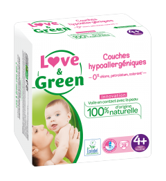 Love And Green Couches Hypoallergéniques Taille 4+ 9 à 20Kg Paquet de 42