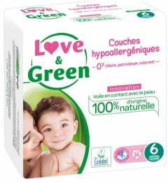 Love And Green Couches Hypoallergéniques Taille 6 Paquet de 34